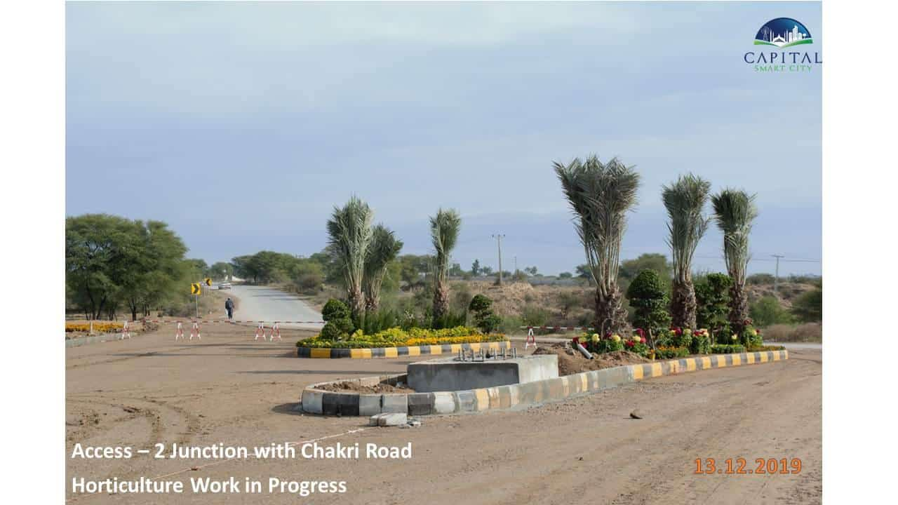 Capital Smart City Islamabad Recent Updates Access 2 Junction with Chakri Road and Horticulture Work in Progress