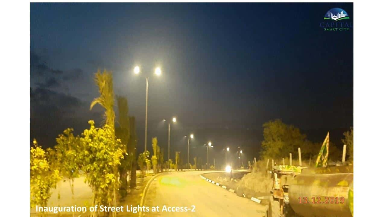 Capital Smart City Recent Inaugration of Street Lights Access 2 Road at Night time